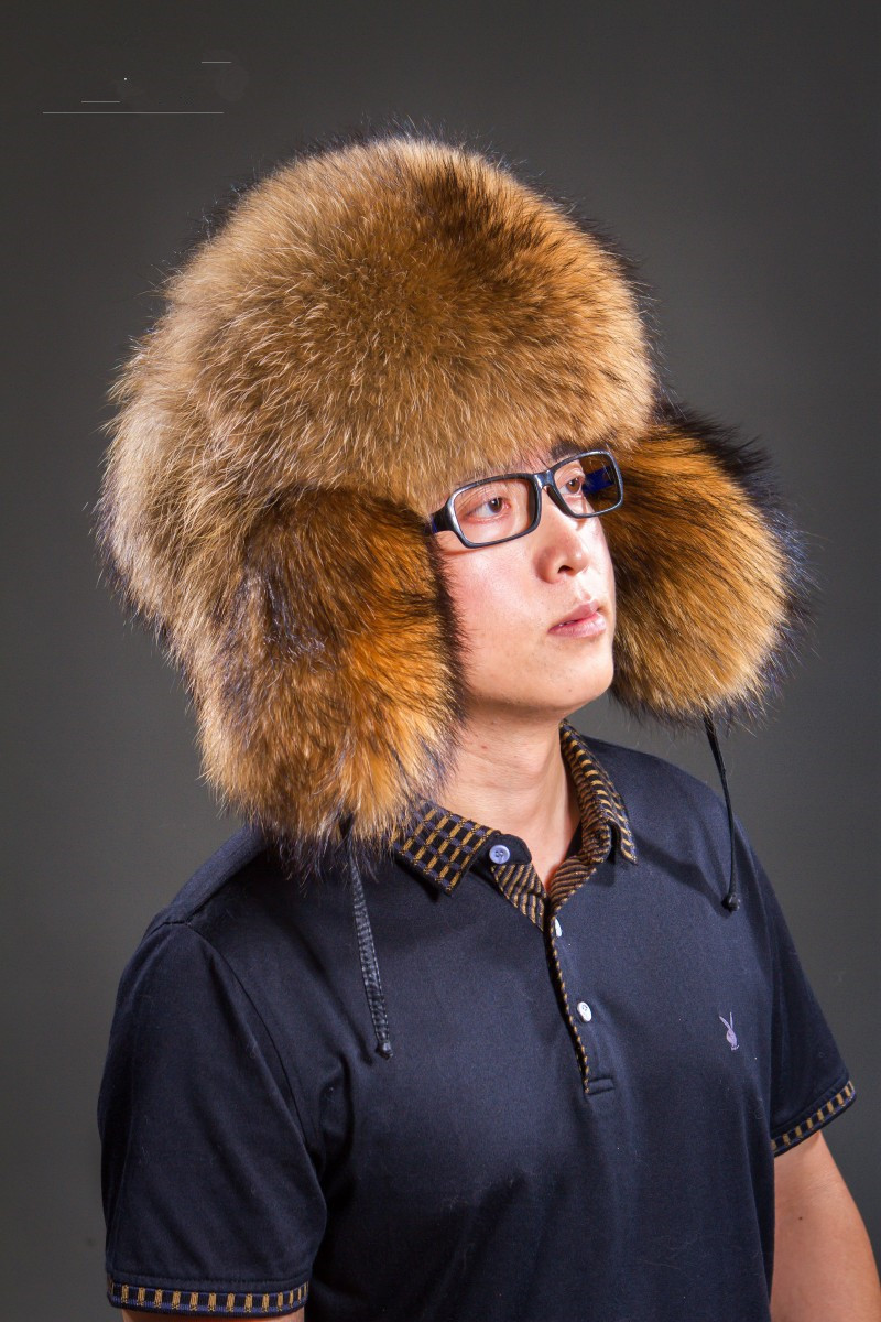Bomber Hats Earmuffs Raccoon-Fur Real Earflap-Cap Trapper Men for Winter with Man H205