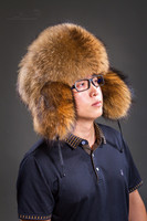 Real raccoon fur bomber hats for men winter hats with earmuffs trapper earflap cap man real raccoon fur hat H205