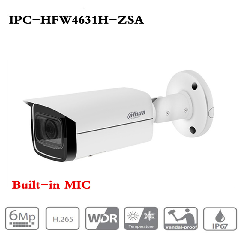 DH 6MP IP Camera IPC-HFW4631H-ZSA Upgrade Version Of IPC-HFW4431R-Z With Build In Microphone SD Card Slot PoE Camera 6MP HD