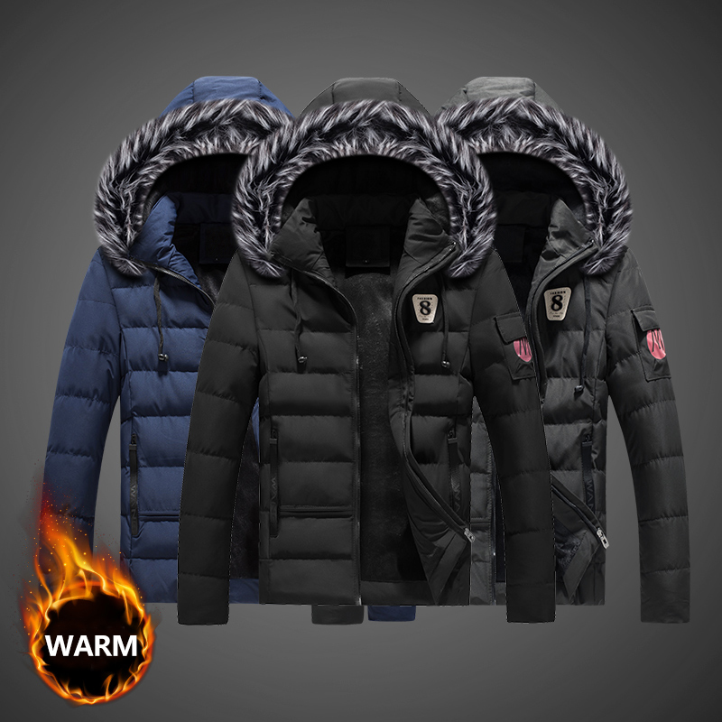 Fashion Winter Jacket Men Stand Fur Collar Hooded Coats Thick Velvet Men Parka Streetwear Casual Outwear Warm Down Jackets