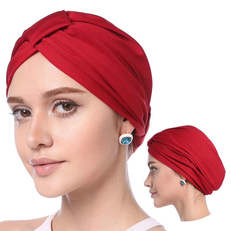 2019 Muslim Women Headscarf Hat Solid Modal Turban Caps Thin Summer Soft Elastic Inner Hijab Bonnet Wrap Head Indian Hats