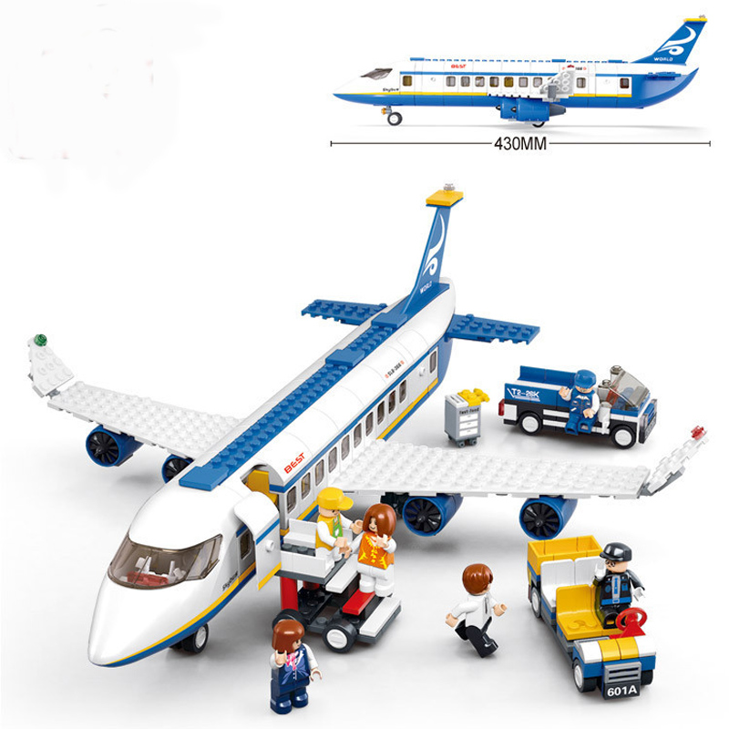2016 New Sluban City Airport Airplane Building Blocks Toy Set Aircraft Model Toy Bricks Compatible with City Planes sluban b0367 aviation series international airport building blocks transport aircraft vehicle bricks toys