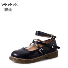 WHOHOLL Women Flats British Style Oxford Shoes Autumn Soft Leather Casual Maid Retro Buckle Flat Dress