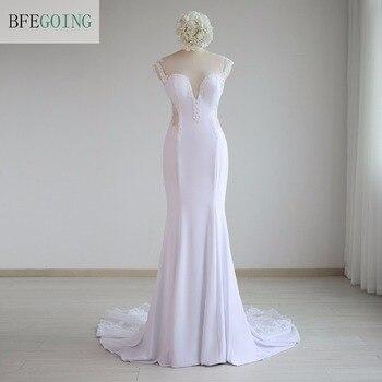 White Spandex Floor-Length Mermaid/Trumpet  Wedding Dress Chapel Train  Appliques Lace  Real /Original Photos Custom made