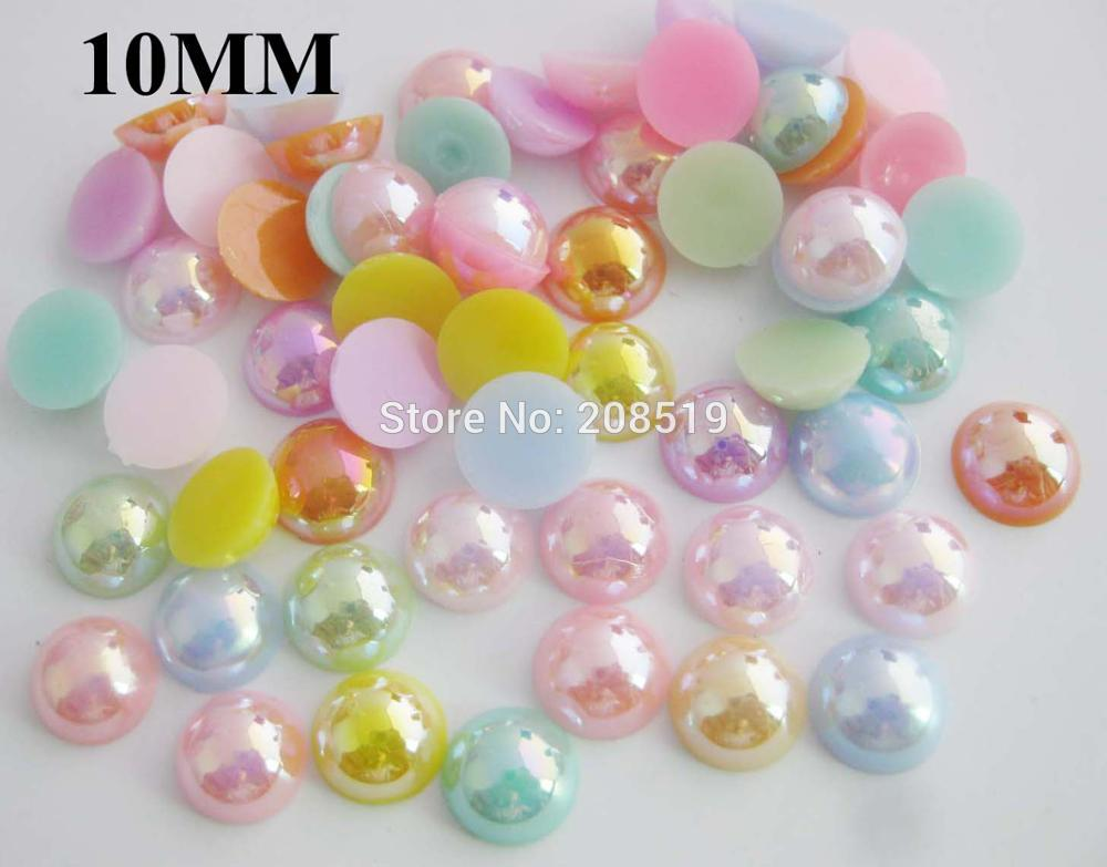 BJNNLW 10MM Dia sweet colorful flatback buttons for craft Multicolor 300pcs randomly DIY scrapbooking decoration in Buttons from Home Garden