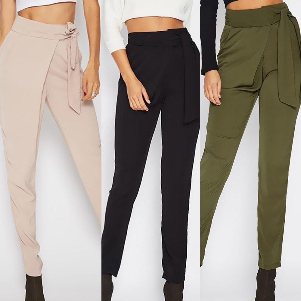 Women Casual Bow Trousers Ladies Loose Mid Waist Zipper Fly Pants Pencil Pants Drop Shipping Брюки Pants Women Spodnie Damskie