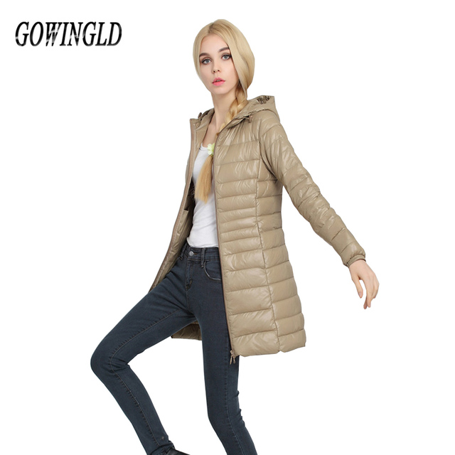 be4d66b0937 Warm Winter Middle Aged Plus Size Long Jacket Women s Hooded Packable Down  Puffer Coat Lightweight Down Winter Jacket