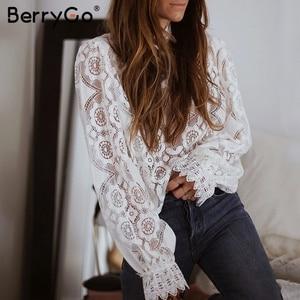 Image 3 - BerryGo เสื้อลูกไม้ Hollow OUT ผู้หญิงเสื้อเซ็กซี่เย็บปักถักร้อยแขนสั้นสีขาวเสื้อฤดูร้อน Retro