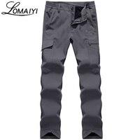 LOMAIYI NEW 2017 Winter Men's Cargo Pants Men Army Military Tactical Warm Fleece Trousers Male Shark Skin Waterproof Pants,AM094