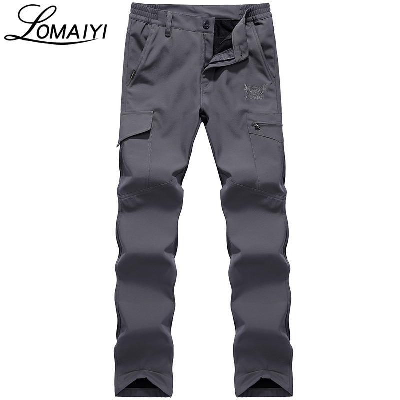 LOMAIYI NEW 2018 Winter Men's Cargo Pants Men Army Military Tactical Warm Fleece Trousers Male Shark Skin Waterproof Pants,AM094