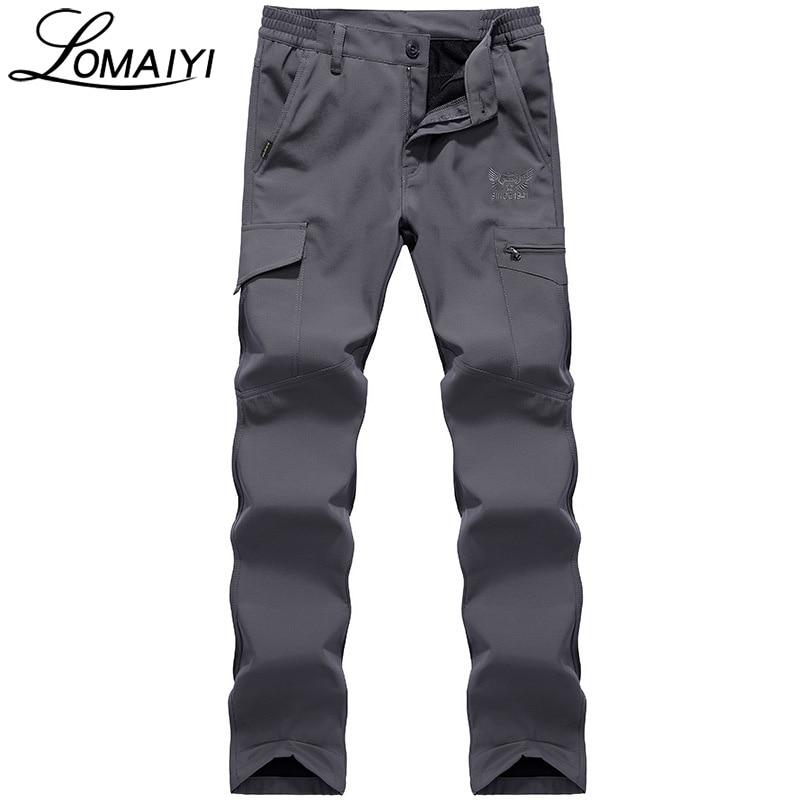 2017 Winter Warm Men Casual Pants Waterproof Windproof Army Military Style Softshell Trousers Fleece Shark Cargo