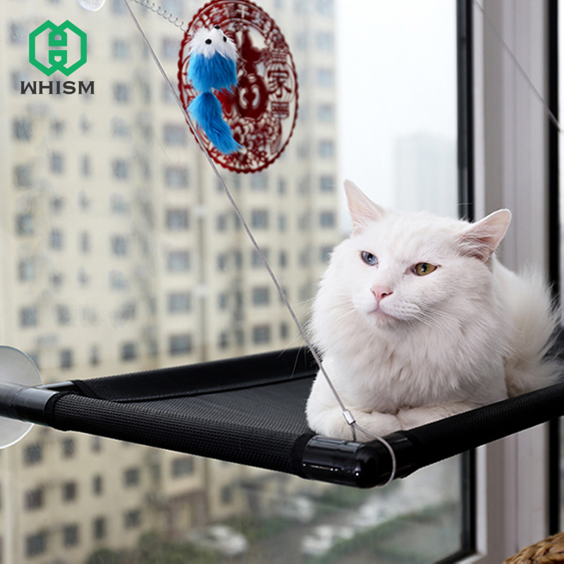 WHISM Breathable Cat Hammock Strong Sucker Window Cat Litter Box Balcony Wall Cat Cage Hanging Bed PVC Tube Pet Cats Sunny Seat