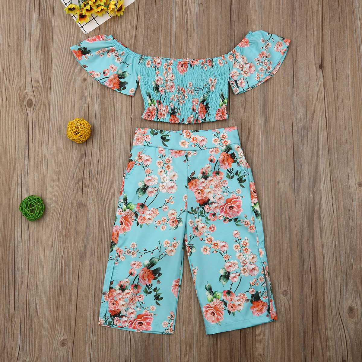 Pudcoco Summer Toddler Baby Girl Clothes Flower Print Off Shoulder Crop Tops Long Split Pants 2Pcs Outfits Cotton Clothes Summer