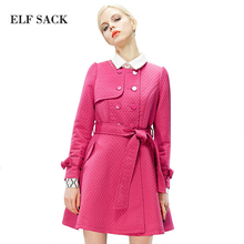 ELF SACK fashion brand new arrival 2015 spring women bow belt long slim trench O-neck double breasted solid color free shipping