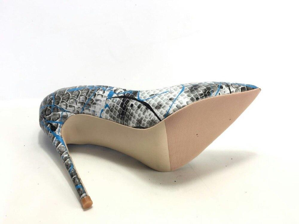 Image 5 - Keshangjia  Women Shoes Blue Snake Printed Sexy Stilettos High  Heels  Pointed Toe Women Pumpswomen pumpsstiletto high heelshoes blue