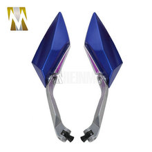 BLUE Silver Stem Motorcycle RearView Side Mirrors For Honda Suzuki Yamaha One Pair