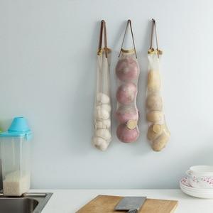 Image 3 - FOURETAW créatif costume réticulaire pour la nourriture légumes fruits pomme de terre ail sac poubelle tenture murale maison bureau cuisine sac de rangement