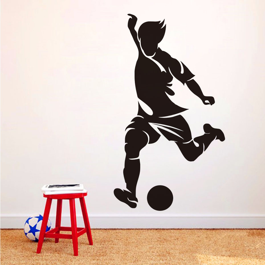 Left Foot Striker Football Wall Paper Living Room Decorative Soccer Sport Player Wall Sticker Home Decor Boys Kids Room Decals ...