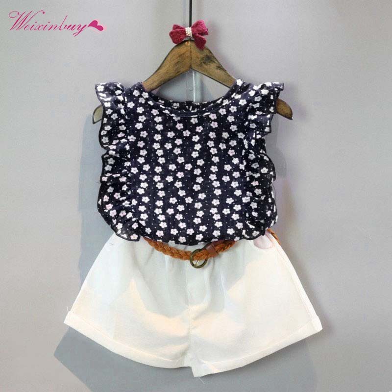 Summer Toddler Kids Baby Girls Clothes Sets Floral Chiffon Polka Dot Sleeveless T-shirt Tops + Shorts Outfits hot sale 2016 kids boys girls summer tops baby t shirts fashion leaf print sleeveless kniting tee baby clothes children t shirt