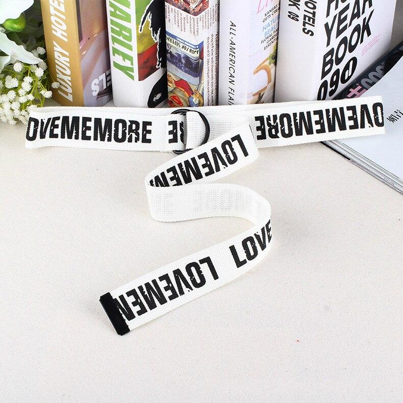 Женский ремень Харадзюку, красный, с буквенным принтом, модный, унисекс, двойное d-образное кольцо, Холщовый ремень, женские длинные ремни для джинсов - Цвет: White