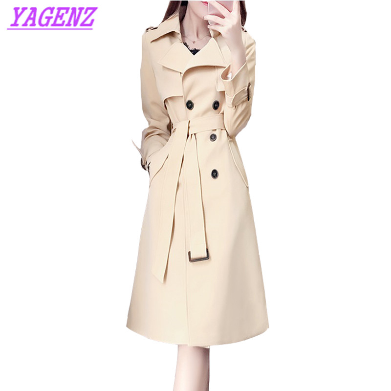 Korean Women Autumn Winter New Fashion Long Windbreaker coat High quality Khaki Double Breasted Slim Upscale Trench coat B228