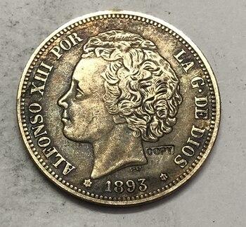 1893 España 5 Pesetas-moneda copia de 2 ° retrato VII de capirotazo