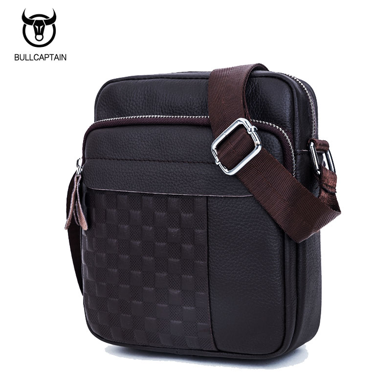 BULL CAPTAIN 2017 men vintage plaid brand shoulder bag fashion GENUINE LEATHER MEN's CROSSBODY bags MALE BAG messenger bags 013 bull captain2017 fashion genuine leather crossbody bags men small brand music messenger bags male shoulder bag chest bag for men