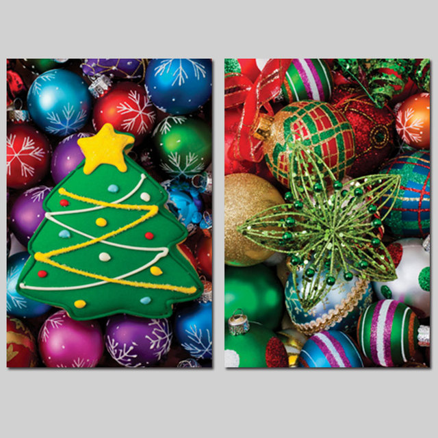 2pcs Set Christmas Tree Decoration Wall Art Pictures Xmas Candy