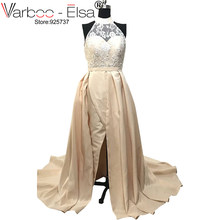 VARBOO ELSA champagne Sexy Long Saudi Lace Beaded Vestido Formal Evening  Prom Gown Dress Sleeveless Party Dresses arabic dresses 962310097165