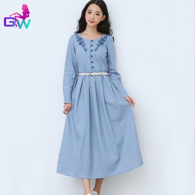 fee0d0e046020 Light Blue Retro Long Dress Women Autumn Winter Vintage Maxi Dress ...