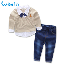 hot deal buy wisefin gentleman clothes boy set winter toddler boys clothing set children clothing autumn kids outfits shirts+jeans boys suit