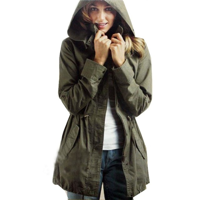 Wholesale Free Shipping Women Army Coat Green Drawsting Trendy Carmo Military Trench Hood Windbreaker Hoody High Quality manteau