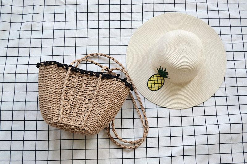 REREKAXI New Bohemian Beach Bag for Women Cute Handmade Straw Bags Summer Grass Handbags Drawstring Basket Bag Travel Tote 8