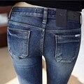 6 EXTRA GRANDE Elasticidade Sexy Slim Fit calças de Brim Das Mulheres Calças Lápis outono E Inverno Magras Calças Para Senhora Calças De Brim Femme Plus Size