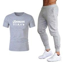 New Summer Men T shirt Avengers Marvel Causal Men T-shirt Suits Print Short Sleeve+Pants Fashion Tracksuit Mens Tshirts