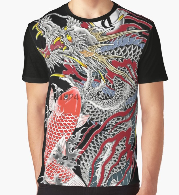 PUNK Nightclub Men T-Shirt Japanese Pattern Allover Tee Tattoo Gangster Printing