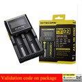 100% Original Nitecore D2 Digcharger Pantalla LCD Nitecore Cargador Cargador de Batería para 26650 18650 18350 16340 14500 10440