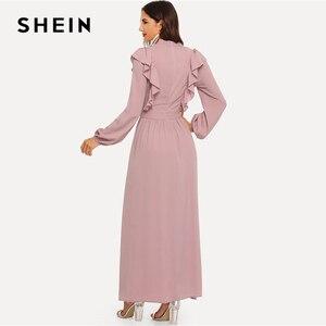 Image 3 - SHEIN rose Abaya cravate cou ajustement et Flare volants plissé taille haute une ligne robe femmes 2019 printemps solide élégant Maxi robes