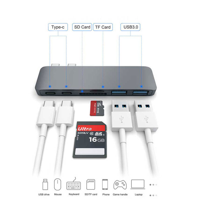 Type C (USB-C) 6 in 1 Hub with Card Reader and PD Charging Black