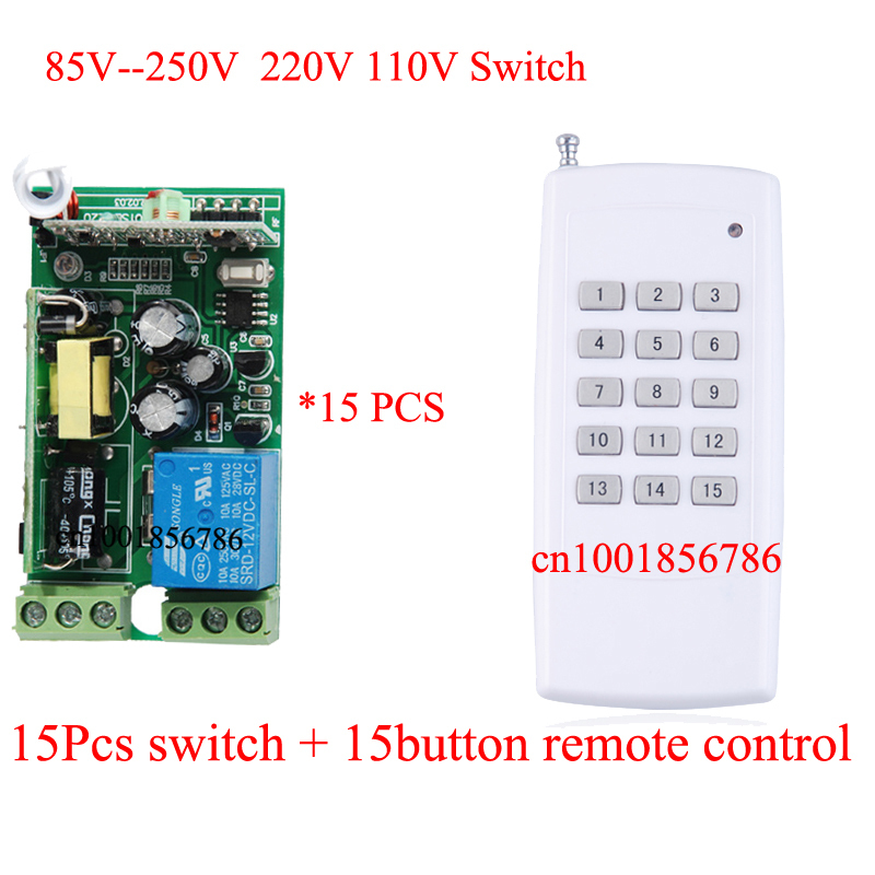 110V 220V Remote Relay Control Switch 15CH Receiver& Transmitter Lamp/Light LED Remote ON OFF Controller System Output Adjust remote control switch led light lamp remote on off system ac85v ac260v 100v 110v 240v 230v 127v learning code receiver 315 433