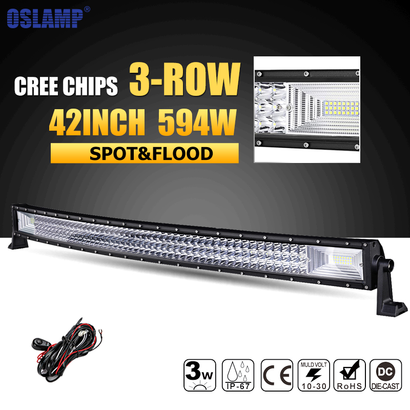 Oslamp 594W 42inch 3 row Curved LED Light Bar Offroad Combo Beam Led Work Light Lamp