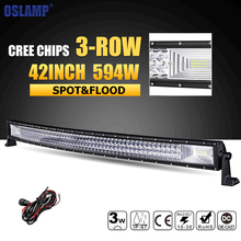 Oslamp 594W 42inch 3-row Curved LED Light Bar Offroad Combo Beam Led Work Light Lamp 12v 24v Truck SUV ATV 4WD 4×4 Led Bar Light