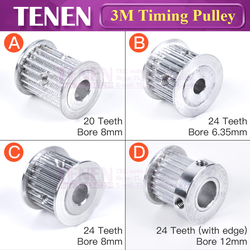 Timing Pulley HTD 3M 20/24 Teeth Width 15 Mm Bore 8/12  Synchronous Wheel Gear Pulley With Screw Aluminum For 3D Printer Parts