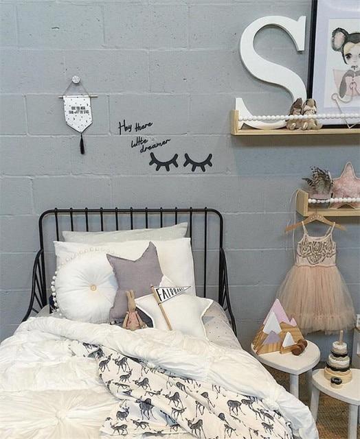 2017 ins kinderkamer decoratie 3d houten wimper muursticker baby slaapkamer ornament woondecoratie
