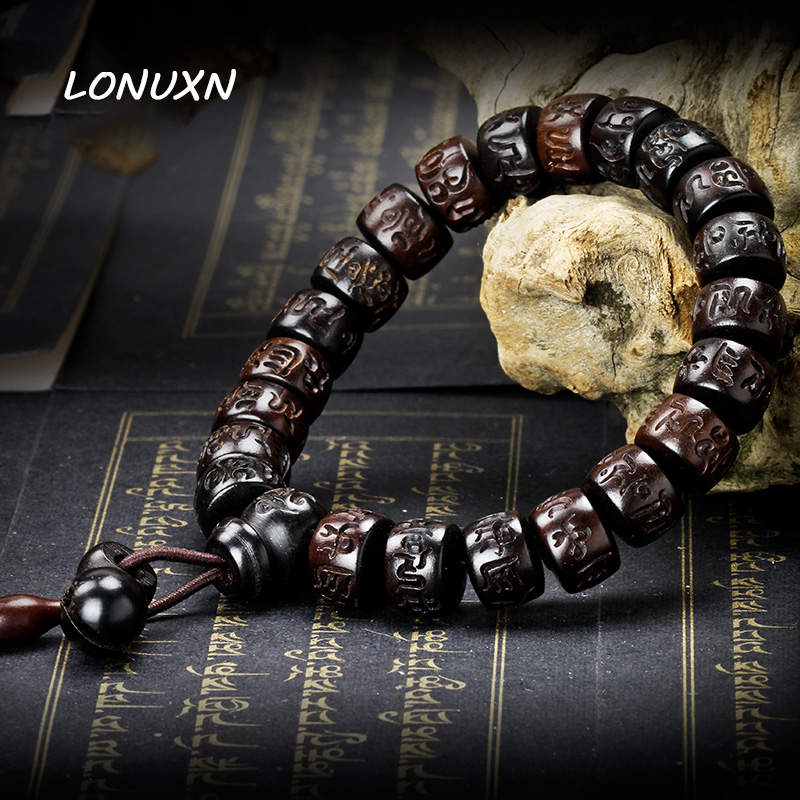 15*9mm Lightning Wood Prayer Beads Bracelets Mantra Wooden Fish Tibetan Mala Prayer Beads Black Vintage Charms Men Jewelry magic fish bracelets