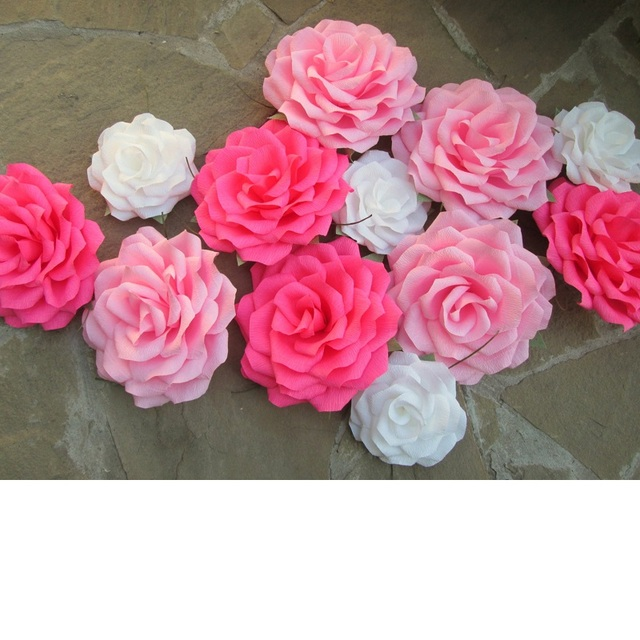 12 Unids Piezas Crepe Flores De Papel Gigante Rosa Para Escaparate
