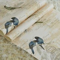 Home Decor Flower Wallpaper Roll Non Woven Wall Paper 3D Paper Contact For Living Room Birds