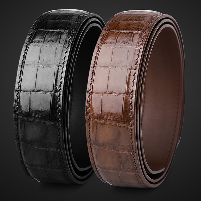 male belt without buckle mens genuine leather belt men luxury strap belts for men high quality crocodile belts mens leather 6350 1