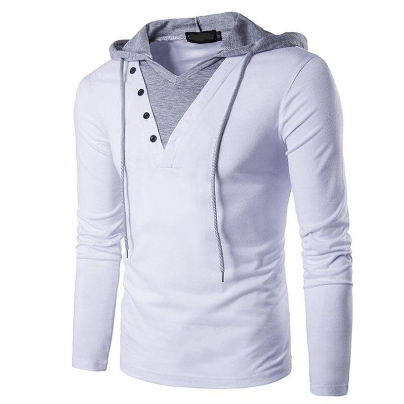 Men Sweatshirt New Fashion Long Sleeve Casual Hoodie Shirt Slim Casual Tee V Neck Man Tops Clothing Patchwork 2XL