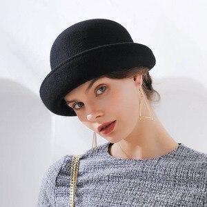 Image 4 - Fibonacci 2018 New Brand Quality Flanging Floral Wool Felt Fedoras Womens Autumn Winter Hats Dome Elegant Banquet Fedora Hat